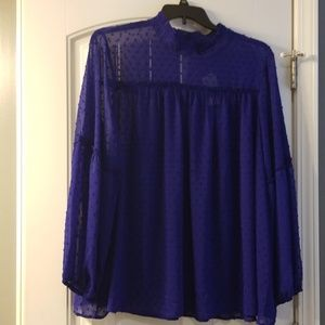 NWT Lane Bryant Sheer Cobalt Blouse Size 24